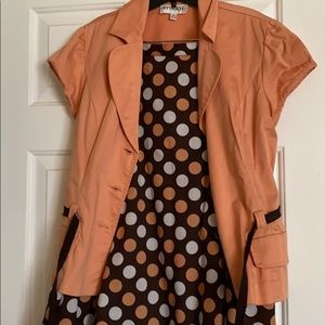 Peach and brown polka dot skirt suit